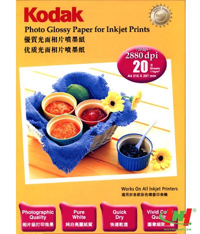 Giấy in ảnh Kodak 1 xấp 20 tờ - Giấy in ảnh Kodak A4 260gms (in 01 mặt,  lụa)