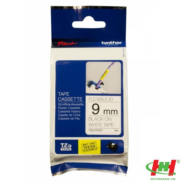 Băng nhãn Brother TZe-FX221 9mm x 8m Chữ đen trên nền trắng