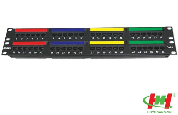 "Patch panel 48 Port,  CAT.6,  19"" rackmount,  Krone type"