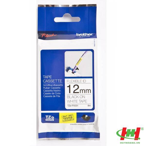 Băng nhãn Brother TZe-FX231 12mm x 8m Chữ đen trên nền trắng