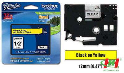 Băng nhãn Brother TZe-631 12mm x 8m Chữ đen trên nền vàng