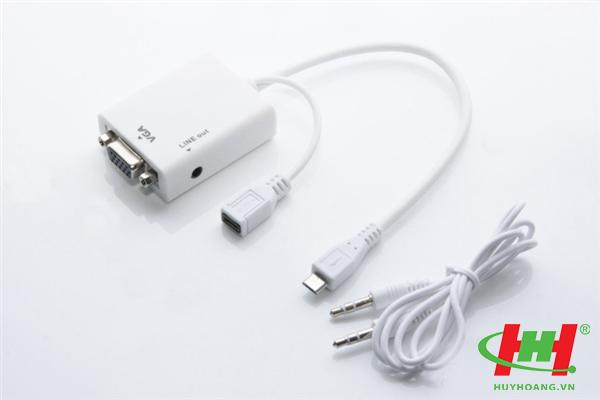 Cáp chuyển Micro HDMI Male to VGA Female + audio output Video Converter Adapter