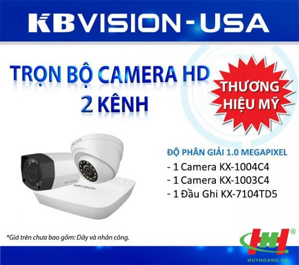Bộ 2 camera quan sát HDCVI Kbvision 2.0 Megapixel