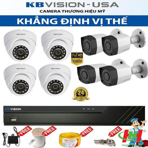 Bộ 8 camera quan sát HDCVI Kbvision 2.0 Megapixel