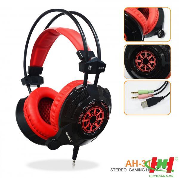 Tai nghe dùng cho PC và Laptop SoundMax AH-317 (Gameming) Trắng,  Đen đỏ