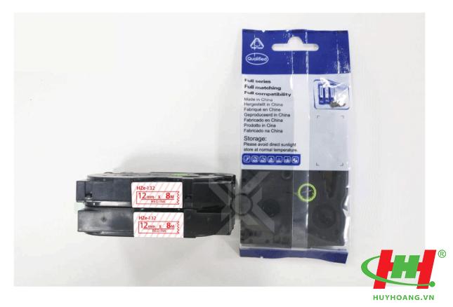 Băng nhãn Brother HZe-132 (dùng chung TZe-132,  TZ2-132) 12mm x 8m Chữ đỏ trên nền trong