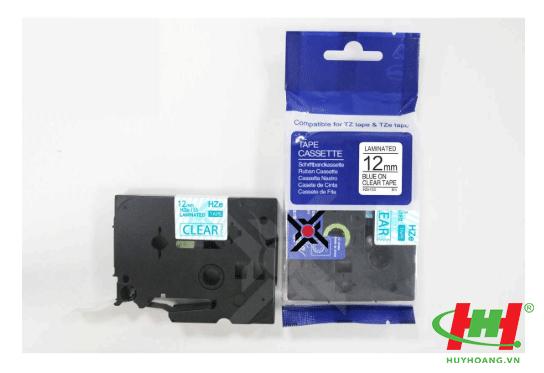 Băng nhãn Brother HZe-133 (dùng chung TZe-133,  TZ2-133) 12mm x 8m Chữ xanh trên nền trong