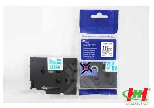 Băng nhãn Brother HZe-143 (dùng chung TZe-143,  TZ2-143) 18mm x 8m Chữ xanh trên nền trong