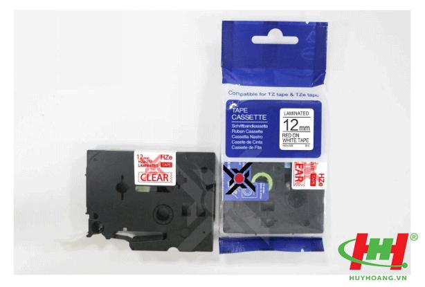Băng nhãn Brother HZe-232 (dùng chung TZe-232,  TZ2-232) 12mm x 8m Chữ đỏ trên nền trắng