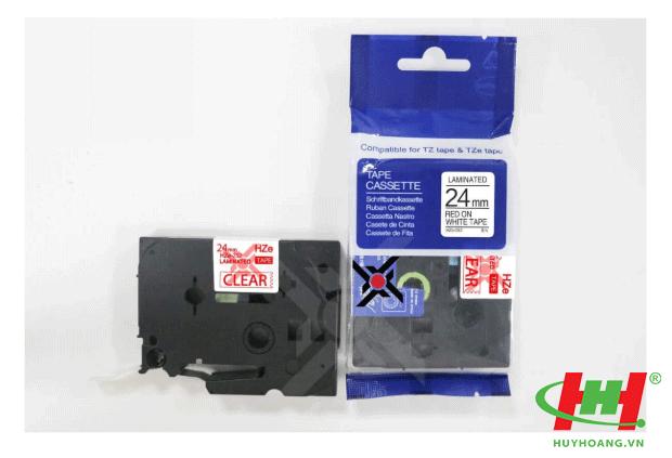 Băng nhãn Brother HZe-252 (dùng chung TZe-252,  TZ2-252) 24mm x 8m Chữ đỏ trên nền trắng