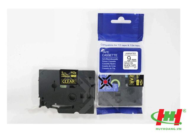 Băng nhãn Brother HZe-324 (dùng chung TZe-324,  TZ2-324) 9mm x 8m Chữ vàng trên nền đen