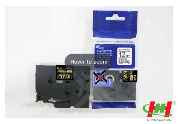 Băng nhãn Brother HZe-334 (dùng chung TZe-334,  TZ2-334) 12mm x 8m Chữ vàng trên nền đen