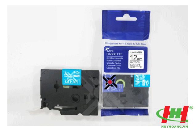 Băng nhãn Brother HZe-535 (dùng chung TZe-535,  TZ2-535) 12mm x 8m Chữ trắng trên nền xanh dương
