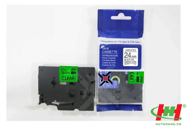 Băng nhãn Brother HZe-751 (dùng chung TZe-751,  TZ2-751) 24mm x 8m Chữ đen trên nền xanh lá