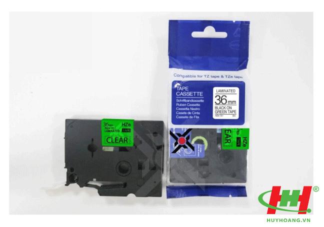 Băng nhãn Brother HZe-761 (dùng chung TZe-761,  TZ2-761) 36mm x 8m Chữ đen trên nền xanh lá