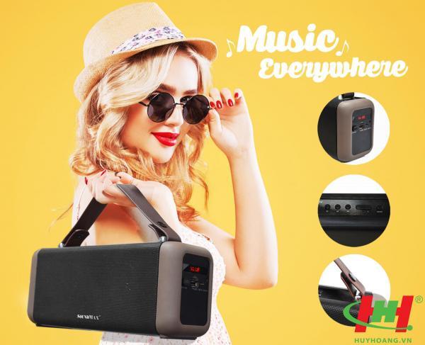 Loa di động SoundMax SB-206 (Bluetooth,  USB,  thẻ nhớ và AUX)