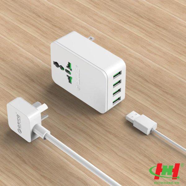 Sạc điện thoại USB 4 cổng 2.4A ORICO S4U