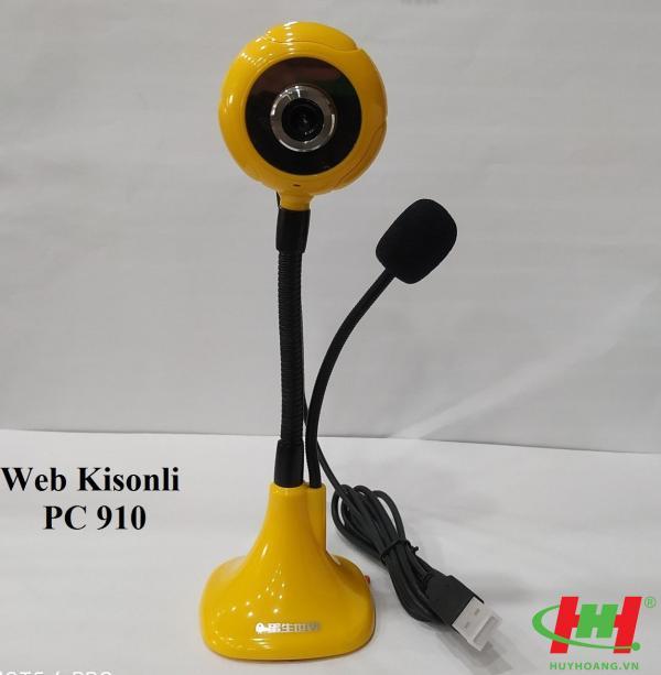 Webcam Kisonli PC910 (Chân cao,  để bàn,  có mic)